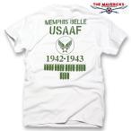 Tシャツ ミリタリー 半袖 メンズ THE MAVEVICKS ブランド 爆弾エアフォース メンフィスベル ロゴT / ホワイト 白