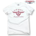Tシャツ ロゴT メンズ ミリタリー 半袖 US NAVY 米海軍 錨マーク MAVERICKS ブランド/ホワイト