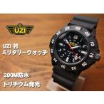 スイス製のムーブメント採用「UZI」社・ミリタリーウォッチ・新品/ブラック4320