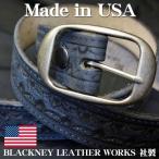 アメリカ製 レザー ベルト メンズ 本革 カービング ベルト 新品 / ブラック 黒