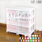 収納ケース 引き出し スリム カラフルチェスト プラスチック 深型 3段 2個組 おしゃれ ホワイト キャスター付き 送料無料 メーカー 自社製造 日本製