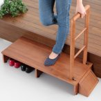 手すり 玄関台 ステップ 木製 天然木 手すり付き 玄関踏み台 幅100cm 送料無料