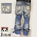パンディエスタ PANDIESTA パンダ 熊猫謹製 刺繍 ワイルドシルエットストレッチ ユーズド ジーンズ デニム 和柄 539651