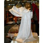 【草木染用】丹後シルク100% シルクサテン(ペイズリー織柄)白スカーフ size 45×180cm特大判ロングスカーフ
