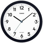 カシオ 電波時計 壁掛け時計 アナログ 掛け時計 おしゃれな ブラック 黒 アラビア数字 (CL18MR02) 見やすい LED ライト付き 秒針 音がしない 小型 電波掛時計