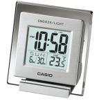 カシオ トラベルクロック コンパクト 置き時計 見やすい デジタル 目覚まし時計(SCL16FB14SLV)アラーム カレンダー 温度計 LED ライト付き CASIO 卓上 置時計