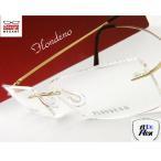 【メガネ度付】FLONDENO ゴールド flexible(丁番ありタイプ) ふちなし ツーポイント βチタニウム素材 眼鏡一式【伊達メガネ対応】