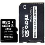 【送料無料】東芝 メモリースティック PRO DUO 8GB セット【TOSHIBA microSDHCカード 8GB CLASS4+ ProDuo 変換アダプタ】PSP対応