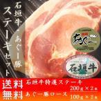 石垣牛 あぐー豚 ステーキセット600g ステーキ ギフト お土産 送料無料 いしがきビーフ本舗
