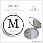[MONA]モノトーン イニシャル コンパクト ミラー 鏡 イニシャル モノクロ[送料無料]※代引き手数料&送料(一部地域:別送料)別途。