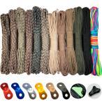 ロープ パラコード 全12色 7芯  同色4m毎にアルミ自在金具またはラインロック付き 1m単位購入可 テントロープ タープロープ ガイロープ paracord 550