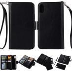 iPhone X レザーケース ブラック 強化ガラス保護フィルム付き アイフォン X カバー 手帳型ICカードスロット 札入れ