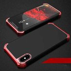 iPhone X ハードケース ブラック/レッド 強化ガラス保護フィルム付き アイフォン X 背面型超薄軽量