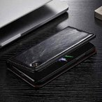 iPhone X レザーケース ブラック 強化ガラス保護フィルム付き アイフォン X カバー 手帳型スタンド機能 ICカードスロット 札入れ