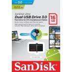 メール便可 SanDisk ウルトラデュアル 16GB USB ドライブ 3.0 130MB/s サンディスク SDDD2-016G 海外パッケージ品