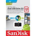 メール便可 SanDisk ウルトラデュアル 128GB USB ドライブ 3.0 130MB/s サンディスク SDDD2-128G 海外パッケージ品