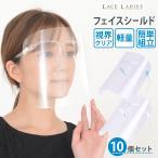 【10枚セット】フェイスシールド メガネ めがね型 眼鏡  フェイスガード 大人用 フェイスカバー 簡易式 水洗い 10個