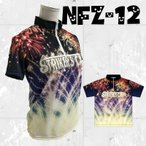 ボウリングウエア ジップシャツ  NFZ-12 夏 花火 猫