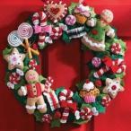 「COOKIES & CANDY WREATH」《日本語基本ガイド付き》Bucilla  ブシラ クリスマス ハンドメイド フェルト リースキット アップリケ