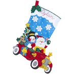 「Holiday  Drive」《日本語基本ガイド付き》Bucilla  ブシラ クリスマス ハンドメイド フェルト くつ下 ソックス  ストッキングキット アップリケ