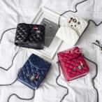 ミニショルダー ウォレットバッグ お財布ポシェット レディース チェーンショルダーバッグ フェイクレザー キルティング bag バッグ 鞄 かばん チ