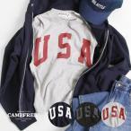 子供服 Tシャツ キッズ ジュニア USA ロゴプリント CAMPFREE 半袖 10091