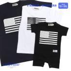 兄弟 ペアルック お揃い 親子 ペアtシャツ 赤ちゃん 家族 リンクコーデ CAMPFREE 星条旗 プリント 半袖 ロンパース Tシャツ 70cm 80cm