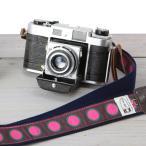 カメラストラップ 一眼レフ ミラーレス一眼用 カフカリボン マーブルドットピンク