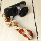 Yahoo Shopping - カメラストラップ camera strap ☆ミーナオリジナル☆おしゃれでカワイイ! 三つ編みレザーのハンドストラップ/イングリッシュゴールド