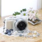 Yahoo Shopping - カメラストラップ camera strap ☆ミーナオリジナル☆ハンドストラップ/パールブラックパピヨン