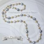 クーポンで20%オフ 淡水バロックパール真珠ネックレス セミロング 80cm 白 ゴールデン グレー