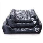 防水犬のベッド柔らかい綿ゼブラパターンペットベッド