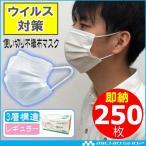 [ウイルス対策・即納]マスク250枚入り 不織布 3層構造 使い捨てマスク 大人普通サイズ