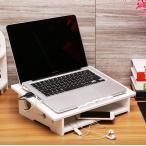 ショッピングノートパソコン ノートパソコンスタンド 机上収納 放熱対策 通気性よい 彫り テーブルの上に コンセント収納 線が通る穴 多用 ホワイト (BタイプSサイズ