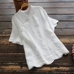 森ガール 半袖 シャツ ブラウス チャイナカラー チャイナボタン レディース