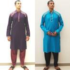 krt151 クルタ・パジャマ 男性用トップス 紫 青 コットン100% 刺繍 格子織り ボリウッド ダンス メンズ サルワール・カミーズ 民族衣装