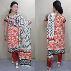 pnb816 パンジャビドレス インド民族衣装 伝統ブロックプリント オレンジ系の半袖トップ・パンツ・ショールの3点セット Lサイズ