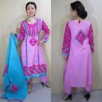 pnb848 パンジャビドレス トップス・パンツ・ショールの3点セット インド民族衣装  サルワール・カミーズ ハンドメイド刺繍とミラーワークが施されたスーツ