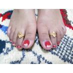 トゥリング 足指輪 フリーサイズ ゴールドカラー 植物モチーフとピンクのストーン インド エスニックファッション toe017