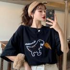 Tシャツ レディース ペアルック 半袖Tシャツ 韓国ファション 春 夏 ナチュラル ゆったり カジュアル お揃い プレゼント デート 可愛い