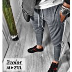 スリムパンツ スキニーパンツ 9分丈 アンクルパンツ ロングパンツ 長ズボン ストライプ メンズ ボトムス ポケット付き 細め 細い サイドライン カ
