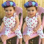 サロペットパンツ ロンパース オーバーオール オールインワン ツナギ ベビー服 ベビーウェア 子供服 こども服 女の子 女児 春 夏 ハート柄 ピンク