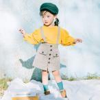 スカート ジャンパースカート ベビー キッズ 女の子 ベビー服 子供服 ボトムス ポケット ボタン スリット チェック 春物 90cm 100cm 1