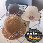 クルーハット メトロハット キッズ 子供用 女の子 帽子 ファッション雑貨 あご紐付き くるみボタン リボン 花 フラワー グレー オフホワイト かわ
