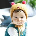 子供用 ニット帽 ボンネット 顎ひも付き 耳付き ポンポン付き ニットキャップ ベビー キッズ 赤ちゃん 男の子 女の子 冬帽子