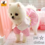 ペットウエア ワンピース 犬用 ドッグウエア チェック柄 フリル レース フレア おしゃれ かわいい お散歩 ドレス 花 洋服 スカート 小型犬 中型