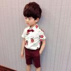 シャツ パンツ セット キッズ 子供 こども 男の子 カジュアル ベルト付き 蝶ネクタイ付き 半袖 五分丈パンツ バラ 薔薇 かっこいい おしゃれ 可