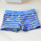 水着 海パン 水泳パンツ ボクサーパンツ 子供用 キッズ 男の子 スイミングウェア 魚 蟹 海 ブルー 調整ひも ショートパンツ かわいい