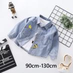 デニムシャツ シャツ 上着 キッズ 子供服 着回し カジュアル おしゃれ かわいい かっこいい サル バナナ 男の子 女の子 ボーイ ガール 90cm