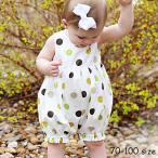 ロンパース カバーオール サロペット つなぎ ベビー 赤ちゃん 女の子 かぼちゃパンツ ノースリーブ 袖なし 股ボタン ドット 水玉 シンプル かわい